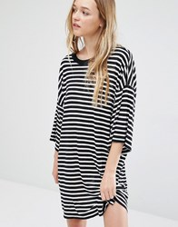 Weekday Huge T Shirt Dress Black White Stripe Multi