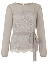 Kaliko Chiffon Sleeve Lace Blouse Light Grey