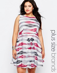 Lovedrobe Plus Skater Dress In Stripe Print With Lace Back Multi