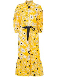 Chinti And Parker Floral Print Shirt Dress Yellow