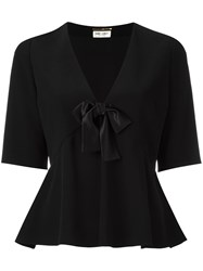 Saint Laurent V Neck Blouse Black