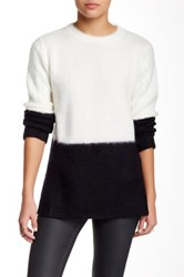 Zoa Colorblock Fuzzy Sweater White