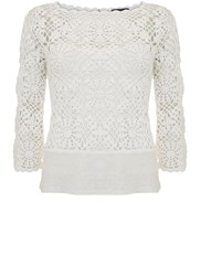 Mint Velvet Crochet Flared Sleeve Knit Ivory