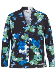 Chesca Abstract Floral Print Shrug Cobalt