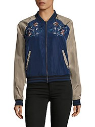 Romeo And Juliet Couture Raglan Sleeve Embroidered Bomber Jacket Navy