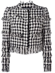 Msgm Tweed Houndstooth Jacket Black