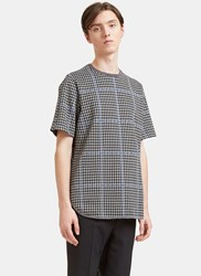 Oamc Oversized Houndstooth Woven T Shirt Grey