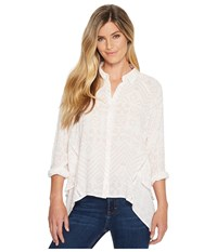 Miss Me High Low Button Long Sleeve Top Multi White Women's Clothing