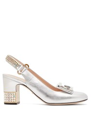 Gucci Madelyn Crystal Embellished Slingback Pumps Silver