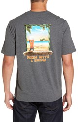 Tommy Bahama Men's Room With A Brew Standard Fit T Shirt Charcoal Heather