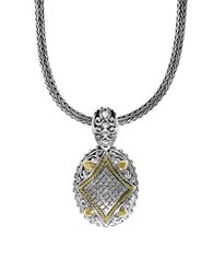 Effy Diamond Sterling Silver And 18K Yellow Gold Pendant Necklace