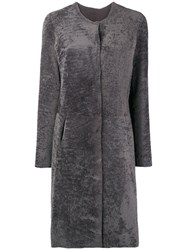 Giorgio Brato Fur Single Breasted Coat Grey