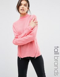 Noisy May Tall High Neck Zip Detail Jumper Pink