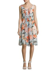 Donna Morgan Pleated Floral Dress Apricot