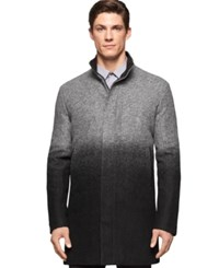 Calvin Klein Ombre Effect Boiled Wool Blend Coat Charcoal
