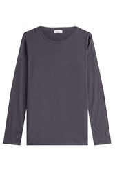 Closed Long Sleeved Cotton Top With Cashmere Blue