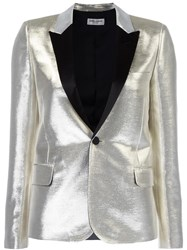Saint Laurent Singled Breasted Tuxedo Jacket Metallic