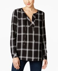 G.H. Bass And Co. Plaid Peasant Top Black Combo