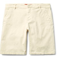 Barena Slim Fit Stretch Cotton Twill Chino Shorts Cream