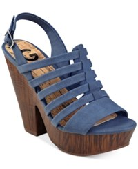 G By Guess Seany Platform Sandals Women's Shoes Blue