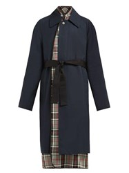 Balenciaga Layered Cotton Twill Trench Coat Navy Multi