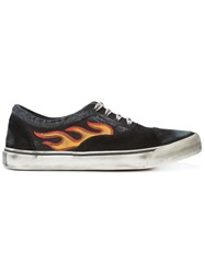 Palm Angels Distressed Flame Sneakers Men Suede Canvas Rubber 44 Black