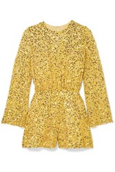 Jenny Packham Sequined Chiffon Playsuit Yellow
