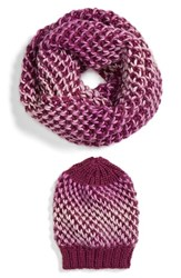 Women's Halogen Ombre Knit Beanie And Infinity Scarf