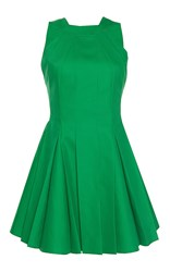 Paule Ka Bonded Cotton Sleeveless Pleated Flared Halter Dress Green