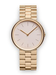 Uniform Wares M35 Women's Two Hand Watch In Pvd Satin Gold With Pvd Satin Gold Neutral