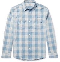 Faherty Slim Fit Buffalo Checked Cotton Twill Shirt Blue