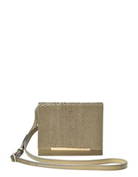 Brian Atwood Sadie Snake Embossed Leather Crossbody Moss