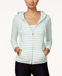 Tommy Hilfiger Striped Zipper Front Hoodie Yucca White