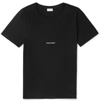 Saint Laurent Slim Fit Logo Print Cotton Jersey T Shirt Black