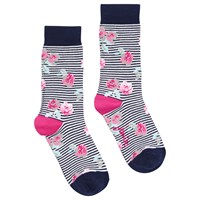 Joules Brilliant Bamboo Floral Socks Navy Pink