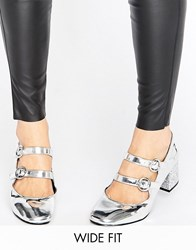 New Look Wide Fit Glitter Heeled Shoes Silver