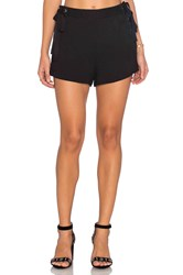Endless Rose Woven Lace Up Short Black