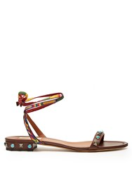 Valentino Rockstud Rolling Leather Flat Sandals Brown Multi