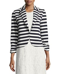 Neiman Marcus Ruched Sleeve Striped Jacket Blue White