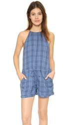 Sundry Plaid Romper Denim
