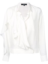 Barbara Bui Ruffle Long Sleeve Blouse White