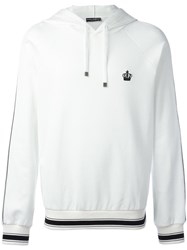 Dolce And Gabbana Embroidered Crown Hoodie White