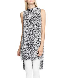 Vince Camuto Leopard Flurry Sleeveless Mockneck Long Tunic Grey Multi