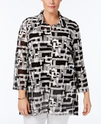 Jm Collection Plus Size Printed Mesh Jacket Only At Macy's Hashtag Black