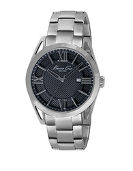 Kenneth Cole Mens Stainless Steel Bracelet Watch With Textured Dial Silver