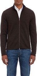Malo Double Face Zip Front Cardigan Brown