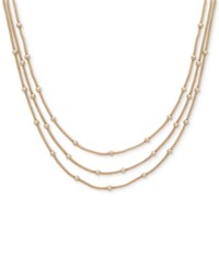 Anne Klein Gold Tone Stationed Bead Triple Row Necklace