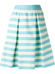 Red Valentino Pleat Detail Striped Skirt Blue