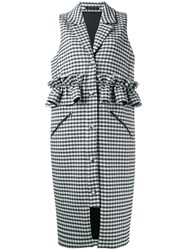 Mother Of Pearl Checked Ruffle Trimmed Gilet Black