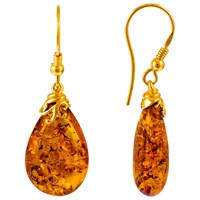 Be Jewelled Gold Plated Sterling Silver Amber Drop Earrings Amber